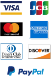 VISA、JCB、Master、AMERICAN EXPRESS、Diners Club、DISCOVER、PayPal